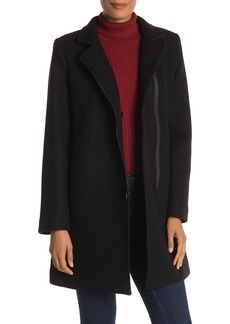 Trina Turk Adela Double Cloth Leather Trim Wool Blend Coat