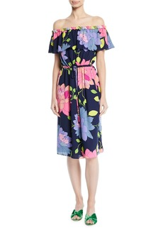 Trina Turk Amelia Off-the-Shoulder Dress in Beach Break Botanical