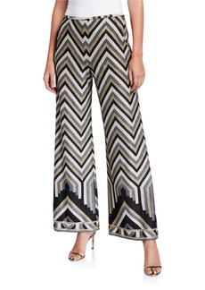 Trina Turk Asia Metallic Chevron Wide-Leg Pants