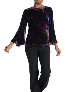 Trina Turk Astral Floral Print Velour Blouse