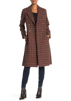 Trina Turk Avery Plaid Print Double Breasted Coat