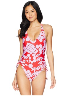 Trina Turk Bali Blossoms High Leg Maillot One-Piece Swimsuit