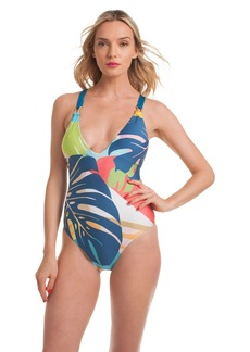 Trina Turk BANANA LEAF V PLUNGE ONE PIECE