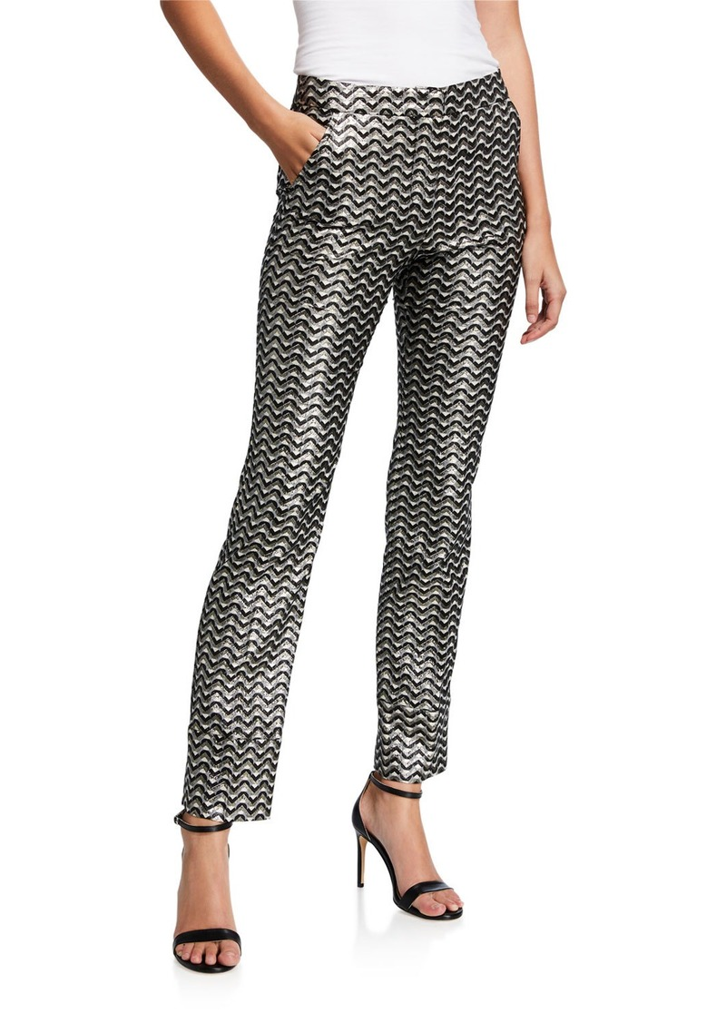 Trina Turk Banshee Metallic Straight-Leg Pants