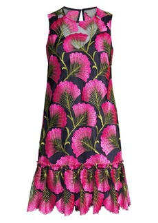 Trina Turk Barbra Fan-Leaf Shift Dress