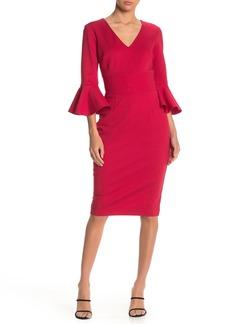 Trina Turk Begonia Bell Sleeve V-Neck Dress