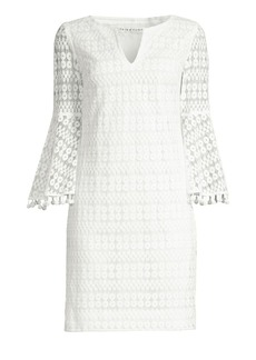 Trina Turk Bell Sleeve Mesh Sheath Dress