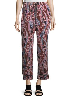 Berta Graphic-Print Silk Lounge Pants