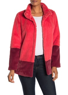 Trina Turk Blanche Two-Tone Faux Fur Coat
