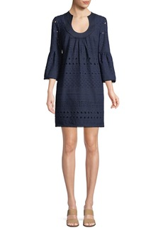 Trina Turk Bonita Cotton Mini Dress w/ Eyelets