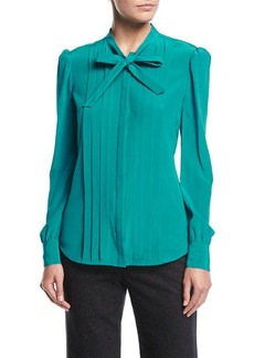 Trina Turk Bow-Tie Pleated Long-Sleeve Silk Blouse