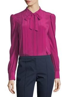 Trina Turk Bow-Tie Pleated Long-Sleeve Silk Blouse