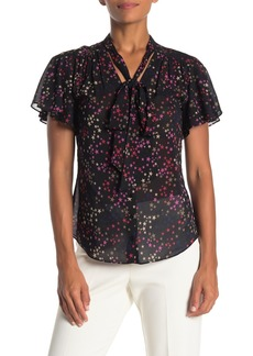 Trina Turk Bracken Short Sleeve Star Print Silk Blend Blouse