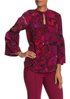 Trina Turk Brinley Floral Bell Sleeve Silk Blouse