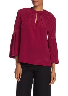 Trina Turk Brinley Silk Keyhole Bell Sleeve Blouse