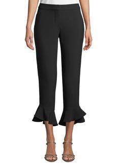 Trina Turk Cahuenga Flare-Cuff Cropped Pants
