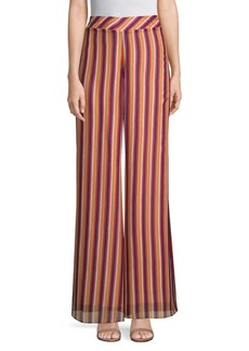 Trina Turk California Dreaming Parsley Striped Wide-Leg Pants