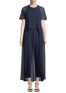 Trina Turk Capote Sheer Short-Sleeve Jumpsuit