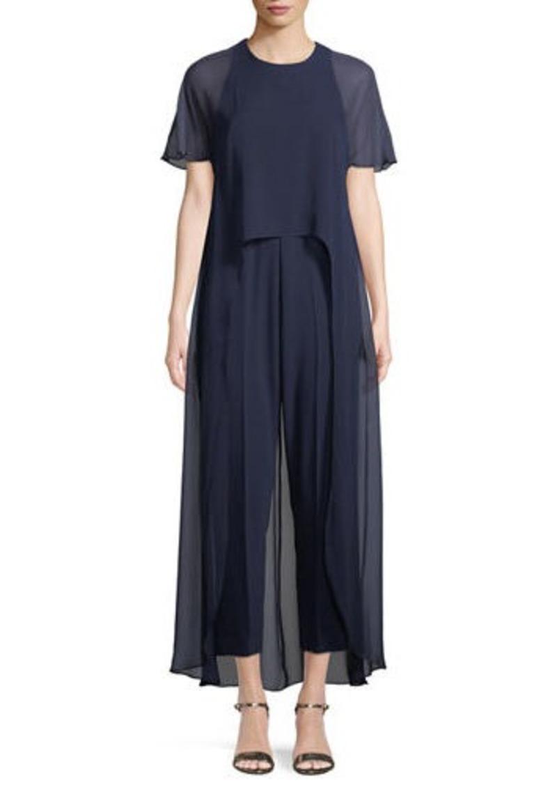 Trina Turk Capote Sheer Short-Sleeve Jumpsuit