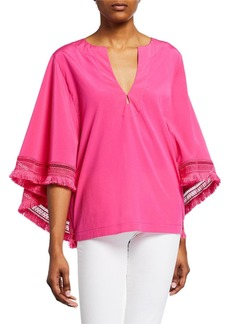 Trina Turk Carry On Silk Frayed Top