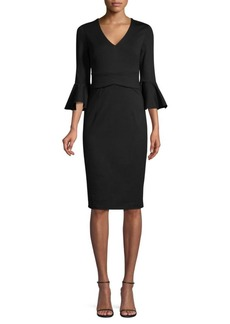 Trina Turk Casa Mexico Begonia Bell-Sleeve Sheath Dress