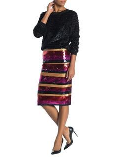 Trina Turk Cava Multi-Color Sequin Stripe Skirt