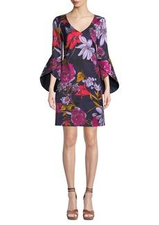Trina Turk Cheers Grand Garden Bell-Sleeve Dress
