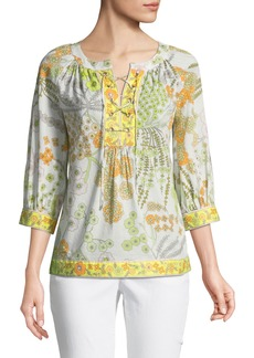 Trina Turk Chirp Floral Lace-Up Blouse