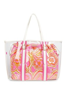 Trina Turk Clear Faux Leather-Handle PVC Tote
