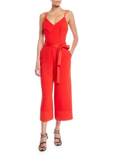 Trina Turk Cloud Sleeveless Jumpsuit w/ Tie Waist