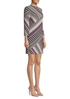 Trina Turk Cocktail Soirée Merry Mixed-Stripe Sheath Dress