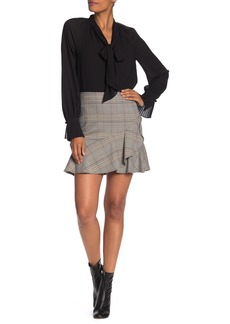 Trina Turk Conversation Houndstooth Plaid Ruffled Skirt