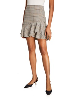Trina Turk Conversation Plaid Mini Ruffle Skirt
