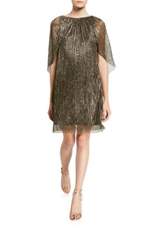 Trina Turk Crinkle Metallic Cape Dress