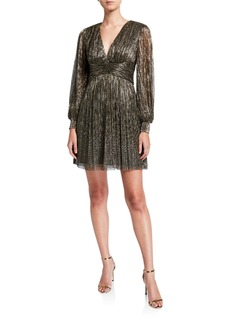 Trina Turk Crinkle Metallic V-Neck Bishop-Sleeve Empire Waist Dress