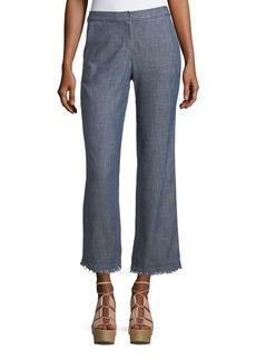 Trina Turk Crosshatch Chambray Bootcut Pants