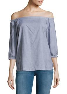 Trina Turk Darius Off-The-Shoulder Neckline Printed Cotton Top