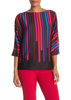 Trina Turk Dark & Stormy Stripe Print Blouse