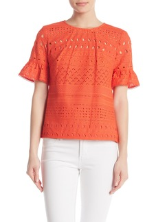 Trina Turk Darling Short Sleeve Crochet Knit Blouse