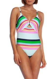 Trina Turk Deco Stripe High-Cut One-Piece Swimsuit