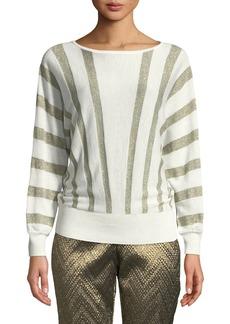 Trina Turk Dolman-Sleeve Metallic-Striped Merino Wool Party Sweater