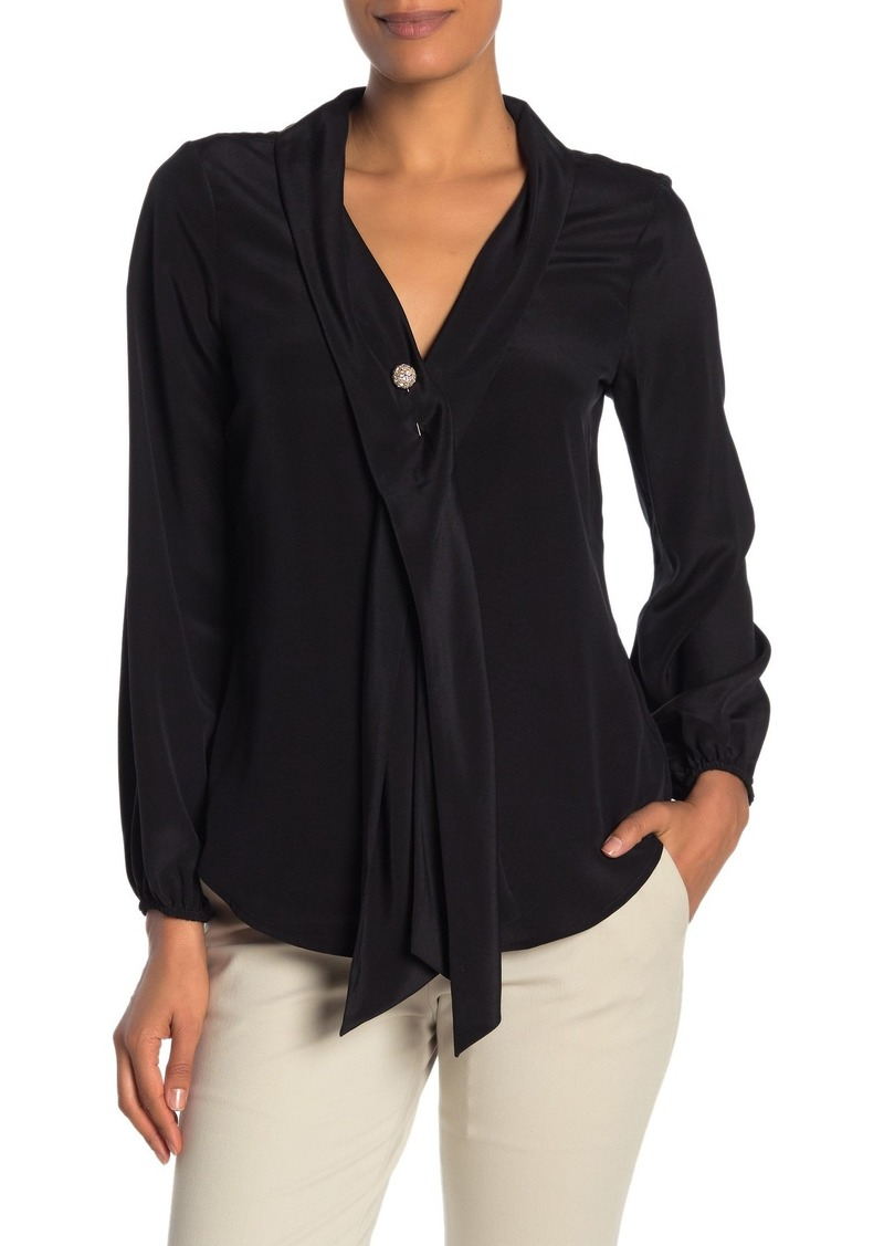 Trina Turk Dunaway Silk Neck Pin Blouse