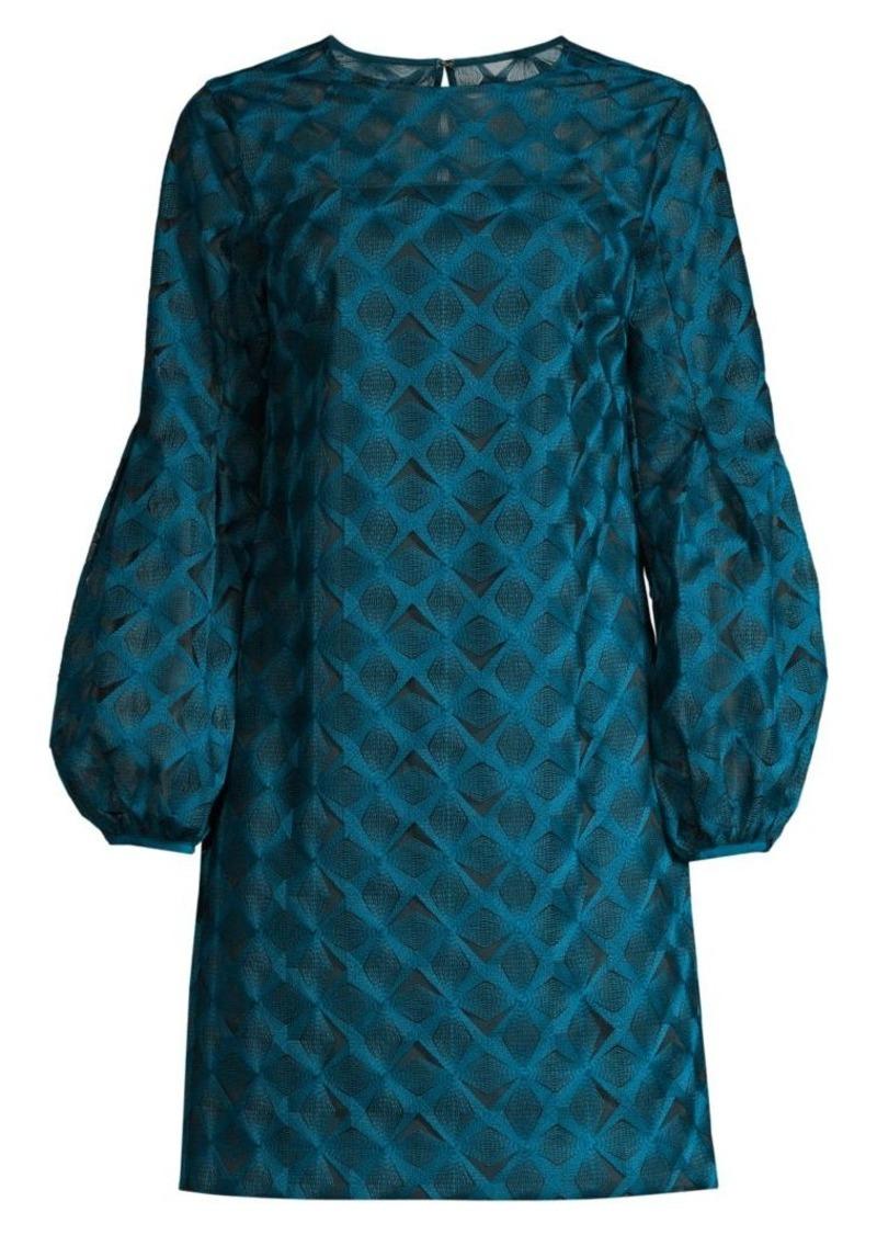 Trina Turk Eastern Luxe Kai Puff-Sleeve Embroidery Dress