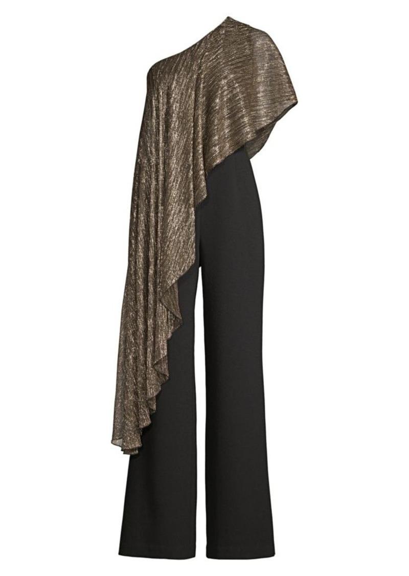 Trina Turk Eastern Luxe Koi Metallic One-Shoulder Jumpsuit