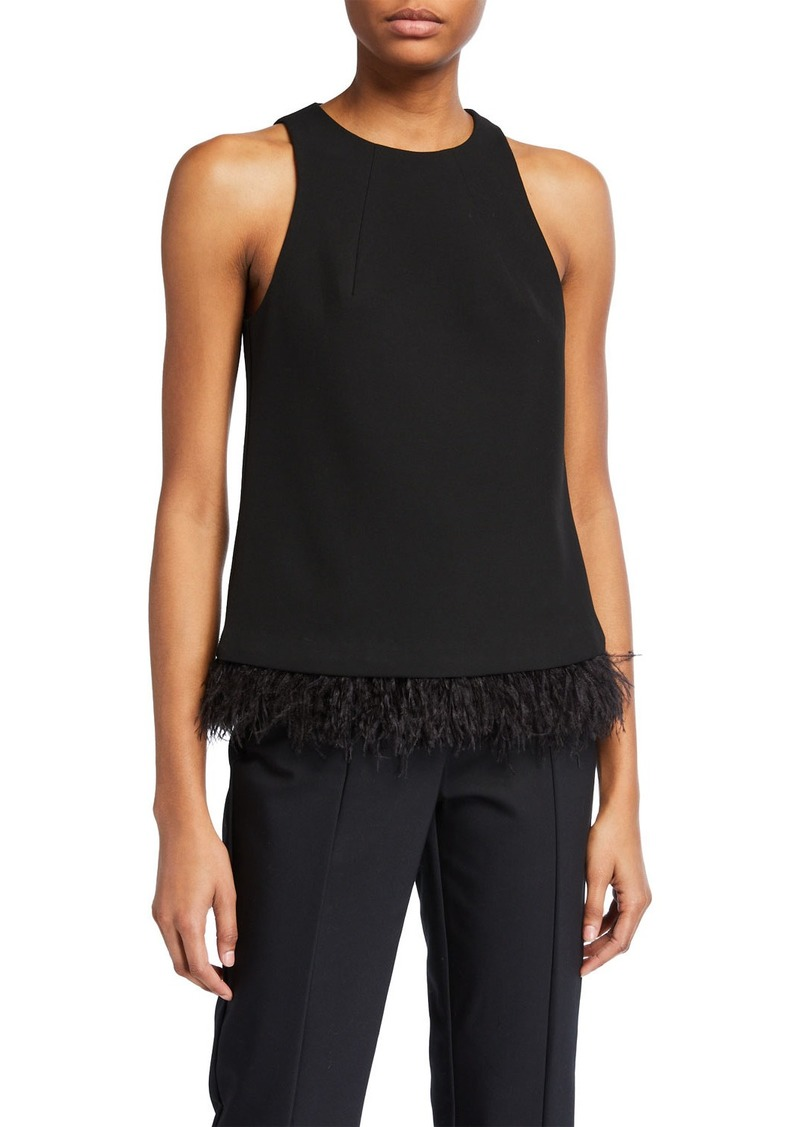 Trina Turk Eero Feather-Hem Sleeveless Top