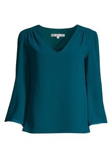 Trina Turk Enamel V-Neck Bell Sleeve Blouse