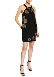 Trina Turk Felisha Halter-Neck Mini Dress w/ Sequin Embellishment & Pockets