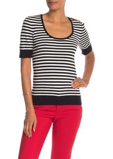 Trina Turk Fennel Striped Short Sleeve Sweater