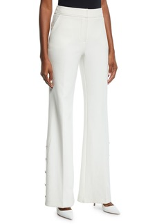 Trina Turk Fete Golden-Button Flared Pants
