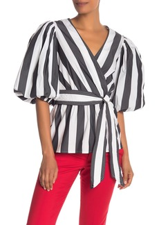 Trina Turk Fiona Striped Puff Sleeve Surplice Blouse